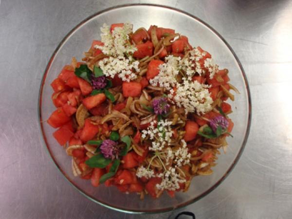 Salade de pastèque et fenouil mariné au vinaigre balsamique brun de Modène